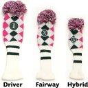 Callaway Argyle Pom Pom Headcover weiss/pink