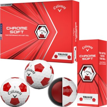 Callaway Chrome Soft Truvis Golfball 3er weiss/rot 1